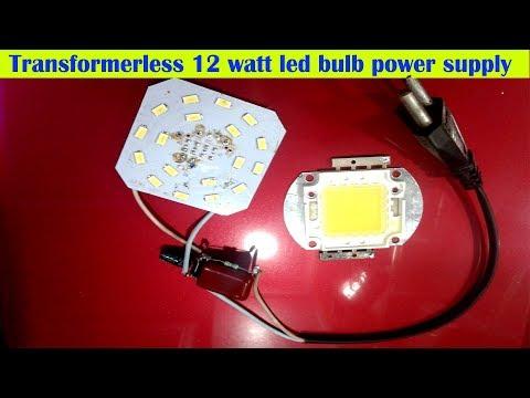 Transformerless 12 watt led bulb power supply