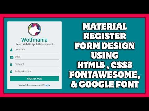 Responsive Material Register Form Design Using HTML5 & CSS3   Material Registration Form