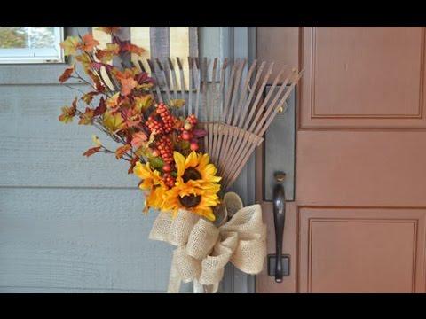 DIY Autumn Rake Wreath Display