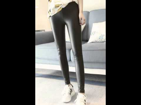 Slim skinny leather pants, slim at the end of foot pants.avi