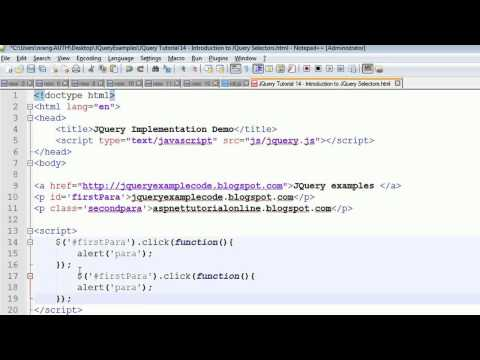 JQuery Tutorial 14 - Introduction to JQuery Selectors