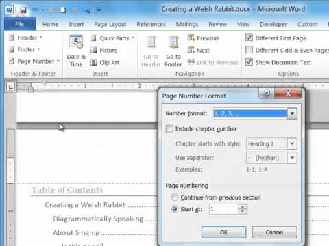 Page Numbering in Microsoft Word 2010