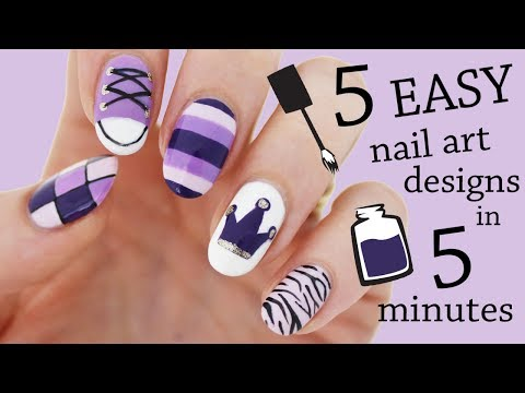 FIVE IN FIVE | Easy Purple Nail Art Designs | Nailed It NZ