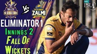 Quetta Gladiators Fall Of Wickets Peshawar Zalmi Vs Quetta Gladiators Eliminator1 20Mar HBL PSL 2018