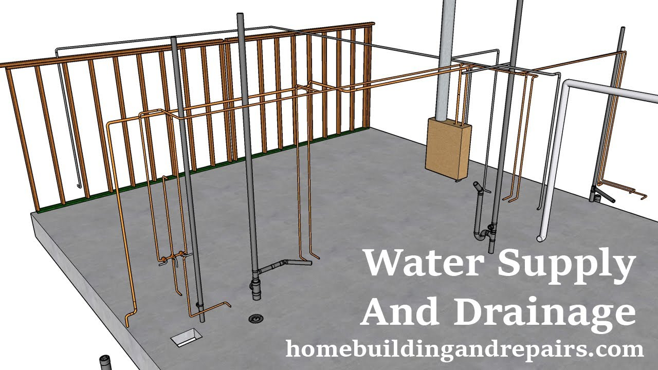 Rough Plumbing Pipe Layout, Gas And Dryer Vent For 850 Square Foot Two Bedroom House - Part Six