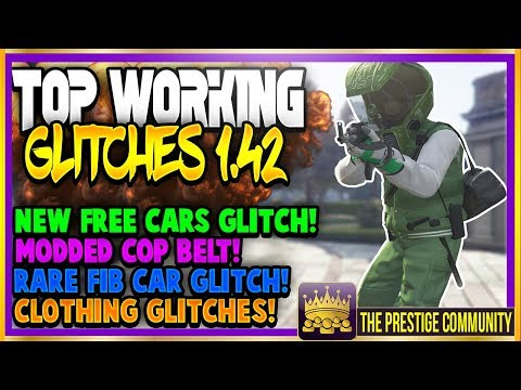 GTA 5 Online (NEW) TOP GLITCHES 1.42! FREE CARS GLITCH, MODDED COP BELT, FIB CAR, CLOTHING GLITCHES!