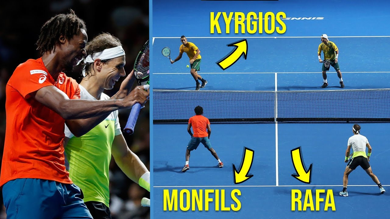 "Tennis ""Craziest"" Doubles Match You've NEVER Seen Before! (Nadal & Monfils Facing Nick Kyrgios)"