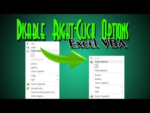 Disable Items from Right Click Menu in Excel VBA
