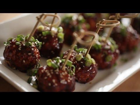Asian Chicken Meatballs Recipe || KIN EATS