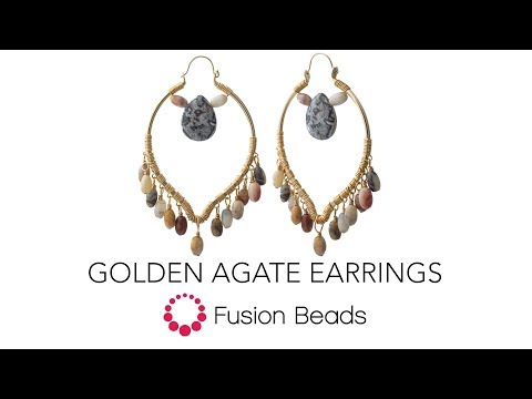 Learn how to create the Golden Agate earrings by Fusion Beads