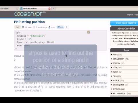 PHP Tutorial : string position