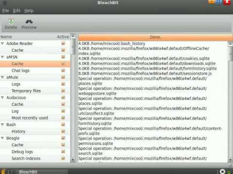 BleachBit free disk space and privacy cleaner version 0.5.3 on Ubuntu Linux