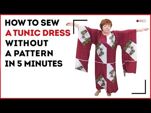 DIY: How to make a tunic dress without pattern in 5 minutes. Making a silk vacation tunic yourself.