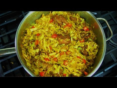 Curry Cabbage With Leftover Caribbean Stewed Chicken.