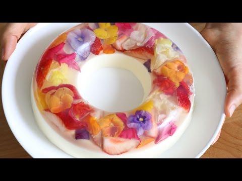 Colorful Edible Flower Jelly Pudding Cake 食べられる花のババロア