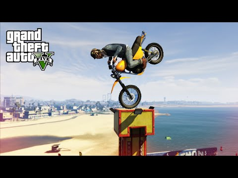CRAZY MOTORBIKE STUNTS! - (GTA 5 Top 10 Stunts)