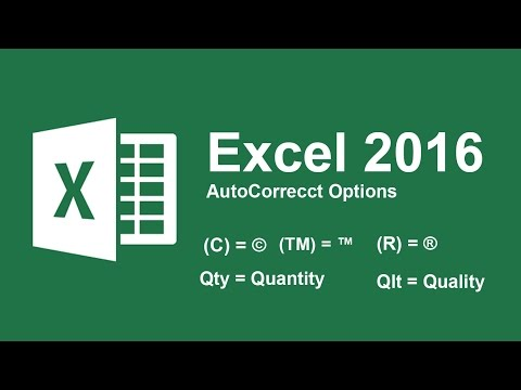 Use AutoCorrect Options in Excel 2016 as Shortcut word or Symbol