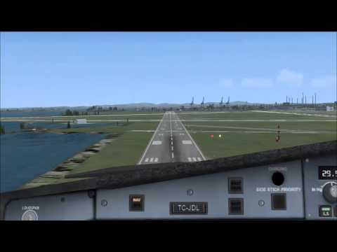 Cockpit landing - Flight Simulator X (Airbus a340, Boston)