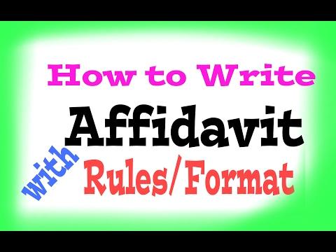 How to write/Format of Affidavit.