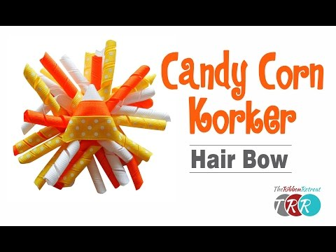 How to Make a Candy Corn Korker Hair Bow - TheRibbonRetreat.com