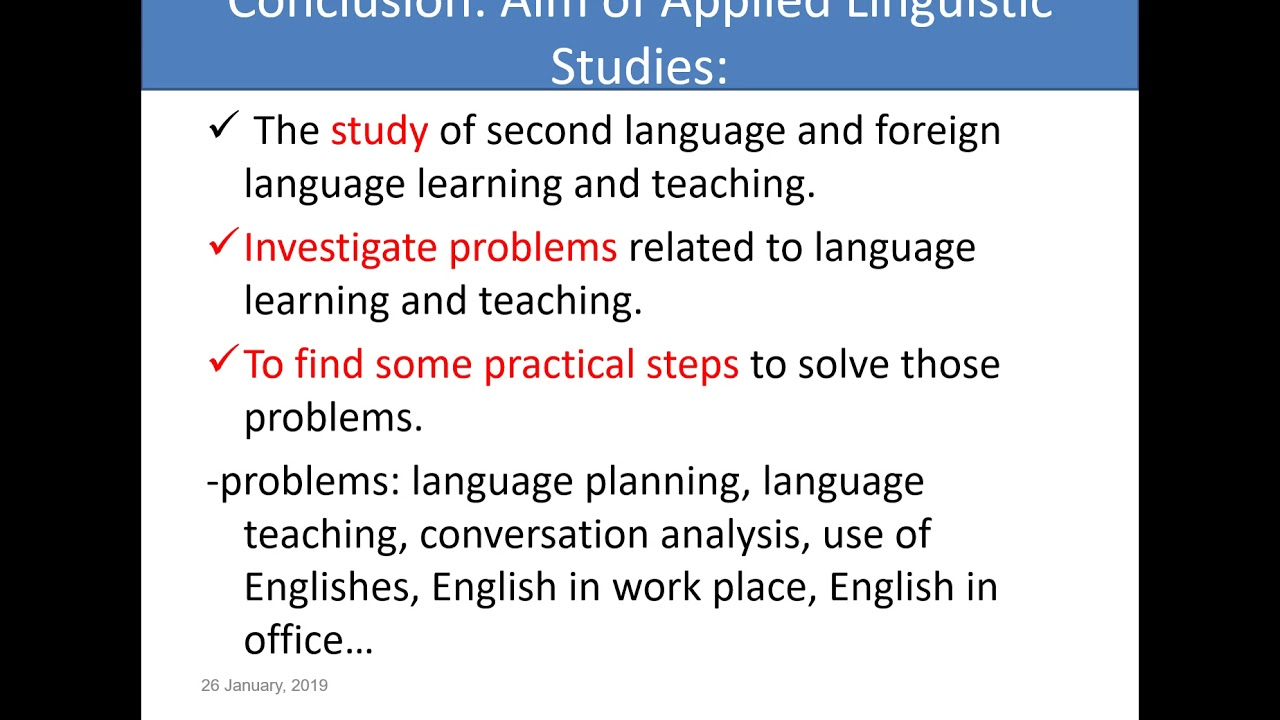 Applied linguistics: An overview---- lecture series 1 TU