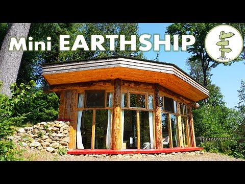 Incredible Mini Earthship Style Cabin - Tiny Off Grid House with Solar Power