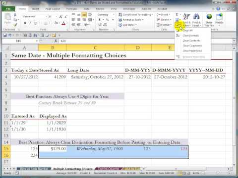 How Excel Stores and Formats Dates