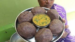 Healthy Finger Millet Balls (Ragi Kali) / Drumstick Leaves Gravy Cooking in My Village