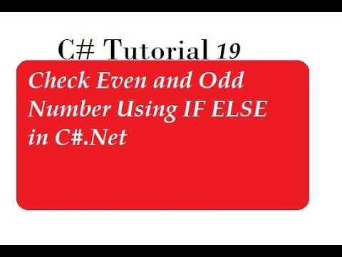 Check Even and Odd Number Using IF ELSE in C#