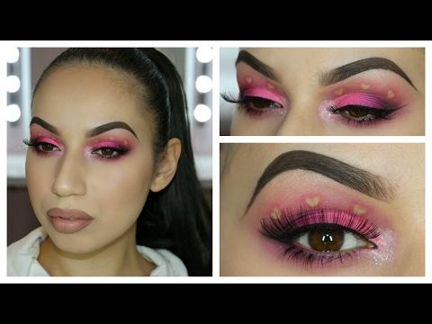Hot Pink Heart Eyes - Fun Valentines Makeup Tutorial
