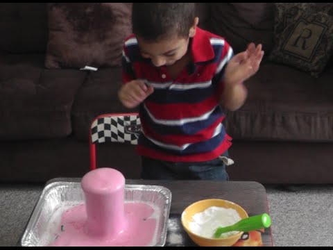 Multi Color Volcano Eruption Preschool science Experiment-  science experiments for kids