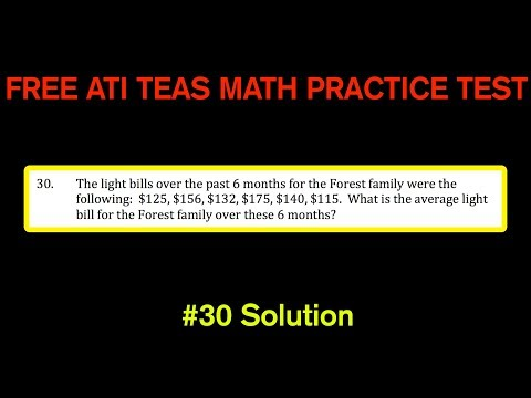 ATI TEAS MATH Number 30 Solution - FREE Math Practice Test - Finding An Average