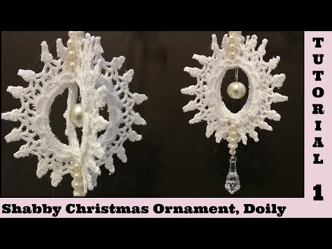 Spin Doily 1 Diy Tutorial,  Christmas Ornament, Snowflake, Shabby Chic Tutorial, decor. frugal craft