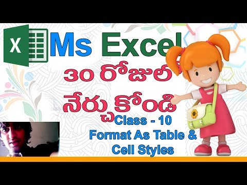 Ms Excel in Telugu | Telugu Ms Excel Classes | Class - 10 |👵🏽| Format As Table | Cell Styles