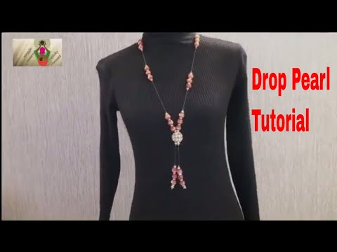 How to make drop  pearl beaded necklace ||  at home in five minutes