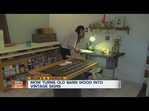 Mom turning old barn wood into vintage signs