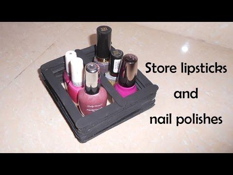 How to make lipstick and nail polish holder with pop-sticks | DIY | Niya Kumar
