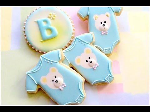 Baby onesie cookies. Baby shower.