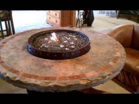 Wine Barrel Fire Table Travertine