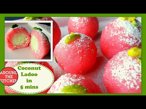 coconut ladoo recipe - rose coconut laddu in 5 mins with condensed milk or milkmaid in hindi