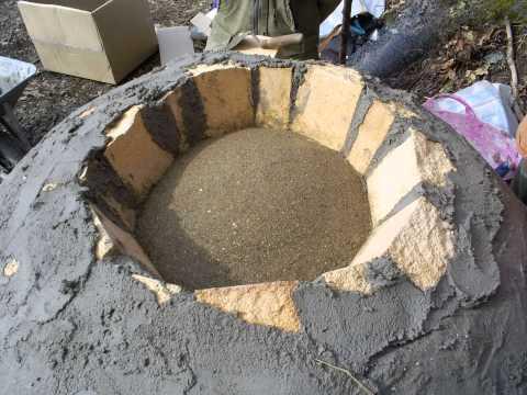 Communal Pompeii oven build Corris. Wales UK