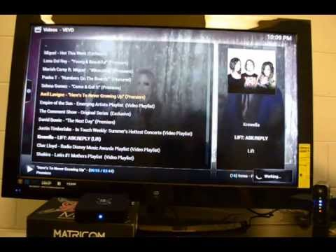 G-Box Midnight MX2 streaming1080p content over WiFi in XBMC using VEVO add-on