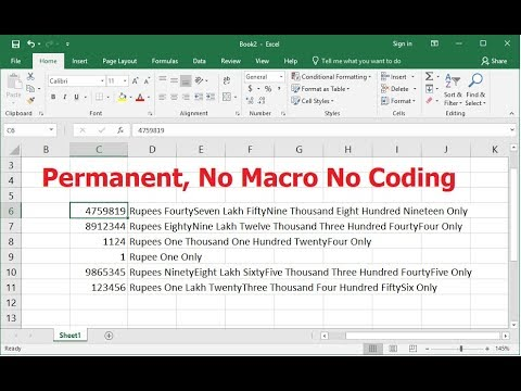 MS Excel: Easily Convert Numbers to Word (Permanent, No Macro No Coding)