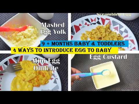 Baby food : How to give eggs to baby| 4 Egg recipes for babies | 9 + months baby recipes