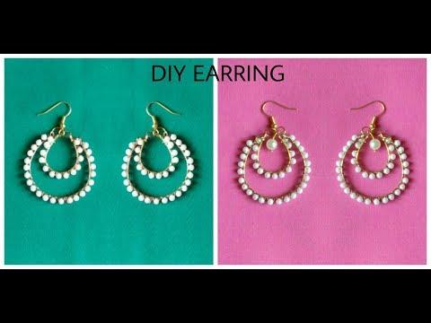 How to make Pearl Earrings/Hoop Ring Earrings/Pearl Jewelry Making Earrings at home