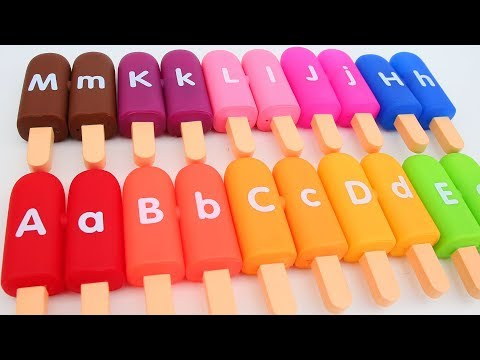 Learn Colors ABC Ice Cream Popsicles ABC Song Nursery Rhymes Rare Pastel Ice Popsicles Dough