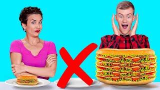 KÜÇÜK, ORTA VE BÜYÜK MEYDAN OKUMALAR|| 123 GO! CHALLENGE 24 Saatlik Devasa veya Küçücük Yiyecek Yeme
