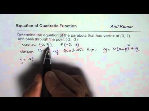Determine Quadratic Equation from Vertex and a Point