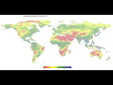 Global Precipitation (rain) visualized for 2012