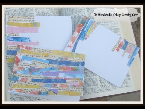 DIY Mixed Media Art Collage Greeting Cards / Mixed Media Collage Card Tutorial